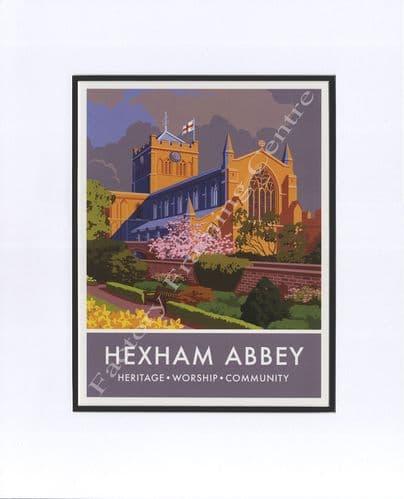 Hexham Abbey- Modern Railway Poster Style Mounted Print
