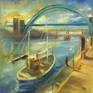 Kate Van Suddese Greeting Card - Boat on the Tyne - Newcastle