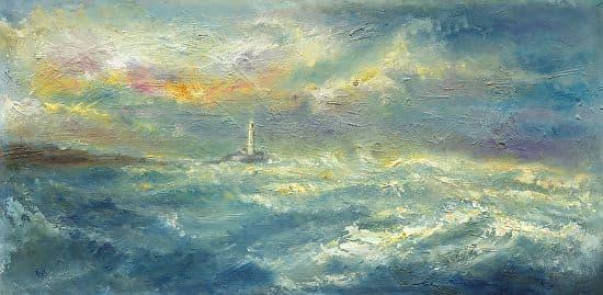 Kate Van Suddese Greeting Card - Sunshine & Seaspray - St Mary's Lighthouse