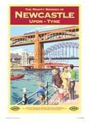 Newcastle - Bridges - Railway & Travel Poster