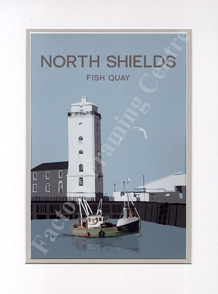 North Shields - Modern Poster Art Mounted Print