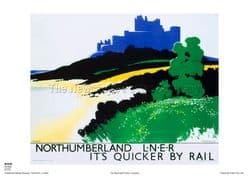 Northumberland - Bamburgh - Railway & Travel Poster