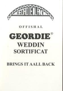 Offishal Geordie Weddin Sortificat