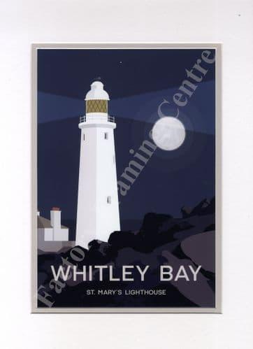 Whitley Bay - Modern Poster Art Mounted Print