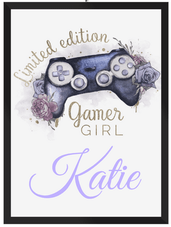 Gamer Girl Gaming Lilac A4 Personalised Print Framed -