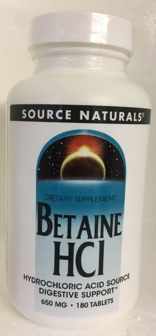 Hydrochloric Acid (with pepsin) 180 tablets - SOURCE NATURALS