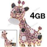 4GB Rhinestone Giraffe with 2.0 Samsung USB Flash Drive with Chain.
