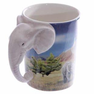 Elephant Shaped Handle Mug with Savannah Decal
