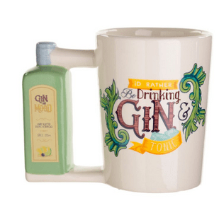Gin Bottle Shaped Handle Mug