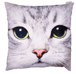 Gray Cat Face Photo Design Cushion