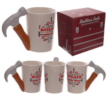 Hammer Shaped Handle Mug with Builder Decal