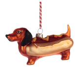 Hot Dog Glass Christmas Bauble Decoration