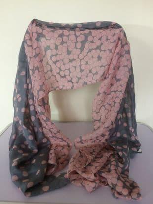 Large Pink & Grey Polka Dot Wrap / Scarf