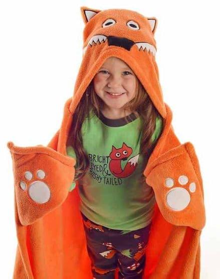 Lazyone Hooded Critter Fleece Fox Blanket