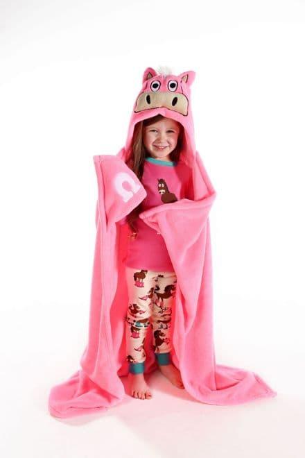 Lazyone Hooded Critter Fleece Pink Horse Blanket