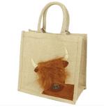 Medium Highland Cow Jute Shopping Bag