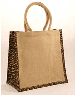 Medium Jute Shopping Bag with Leopard Print Sides