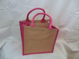 Pink Edged Jute Bag