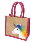 Pink Trim Unicorn Design Jute Small Bag