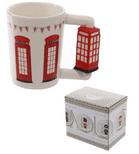 Red Telephone Box Shaped Handle Mug