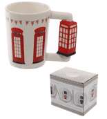 Red Telephone Box Shaped Handle Mug
