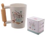 Rolling Pin Shaped Handle Ceramic Mug