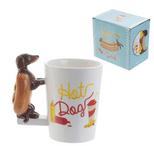 Sausage Dog in Bun Shaped Handle Mug