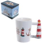 Seaside Lighthouse Shaped Handle Mug