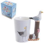 Seaside Seagull Shaped Handle Mug