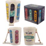 Skateboard with Slogans Shaped Handle Mug