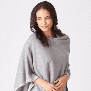 Ashford Supersoft Merino Poncho Light Pewter with Light Sand Border Detail