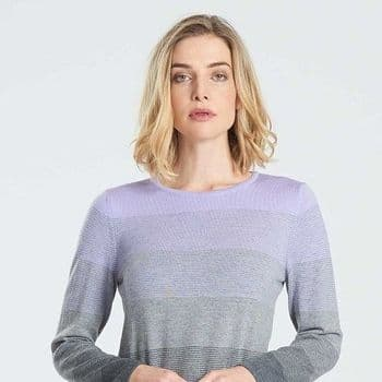 Dovedale Striped Jumper In Grey And Orchid
