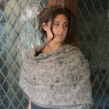 SOLD OUT Brampton Motif Shawl with Pin in Oyster & Charcoal