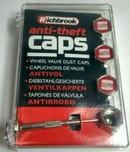 SET OF FOUR SEAT RED + CHROME RICHBROOK ANTI THEFT TYRE VALVE DUST CAPS