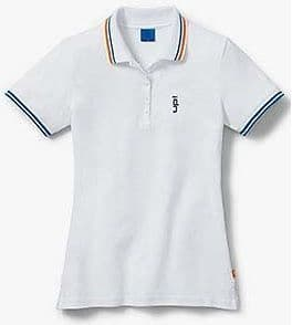 WOMENS WHITE UP! POLO T SHIRT – GENUINE VOLKSWAGEN VW UP COLLECTION MERCHANDISE