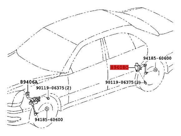 Genuine Lexus Height Control Sensor Rear LH 89408-50060, 8940850060