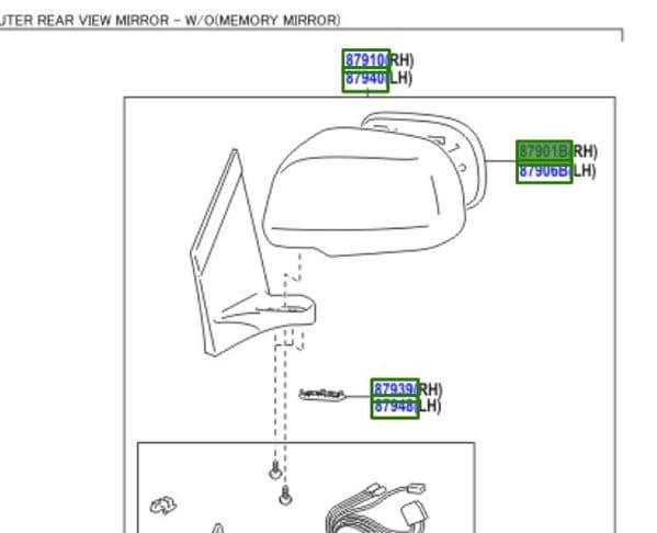 Genuine Lexus Mirror Outer RH Rear View 87901-48050 8790148050
