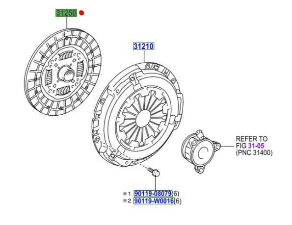 Genuine Toyota Clutch Disc 31250-05141 3125005141