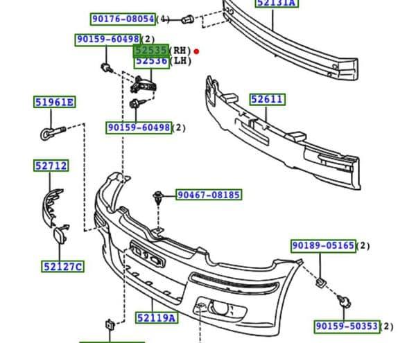 Genuine Toyota Front Bumper Retainer 52535-0D010 525350D010