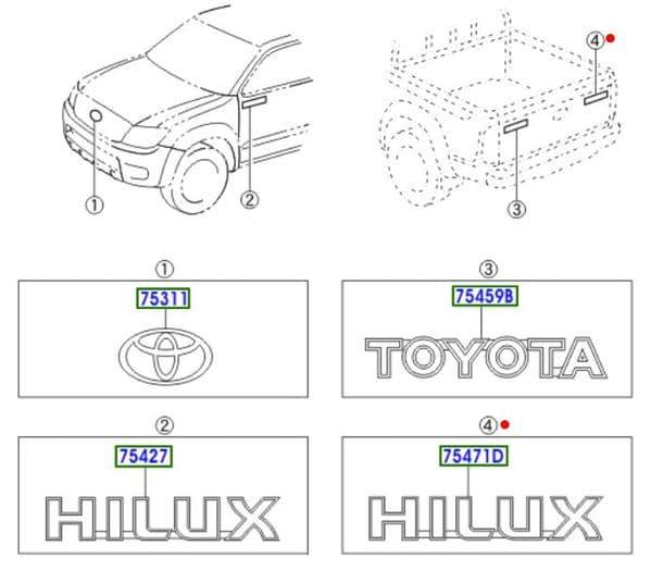 Genuine Toyota Hilux Rear Badge 75427-0K050 754270K050