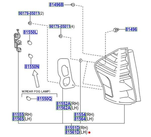 Genuine Toyota Prius Rear Combination Lamp LH 81561-47252 8156147252