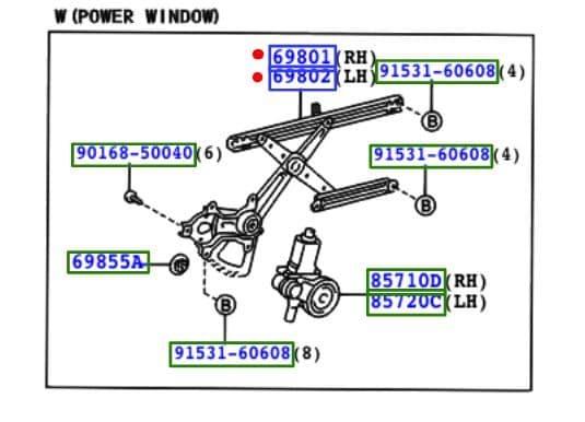 Genuine Toyota Rav4 Window Mechanism (Regulator) 69801-42060 69820-42200