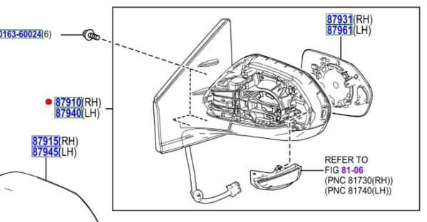 Genuine Toyota RH Complete Wing Mirror 87910-K0020 87910K0020