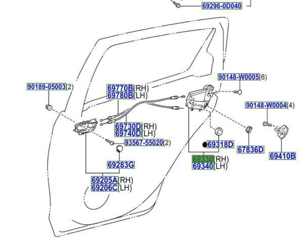 Genuine Toyota RH Rear Door Lock Mechanism 69050-0D170 690500D170