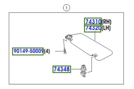 Genuine Toyota Sunvisor LH RH 74320-0D581-B0 74310-0D660-B0