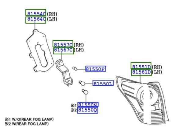 Genuine Toyota Verso Rear Combination Lamp LH 81561-0F120 815610F120