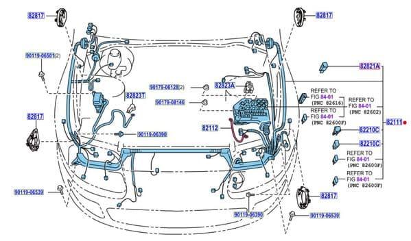 Genuine Toyota Wiring Loom Engine 82111-1B611