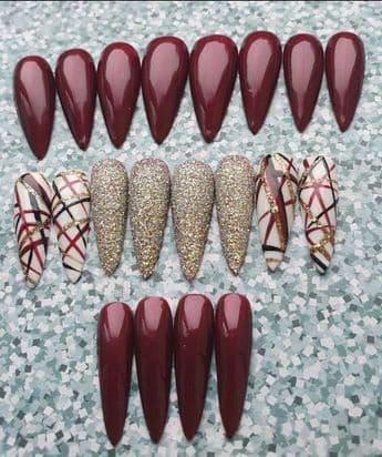 Cherry Orchid,Nail Art & Golden Glitter Design