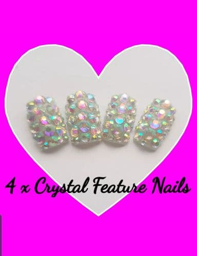 Crystal Feature Nails x 4