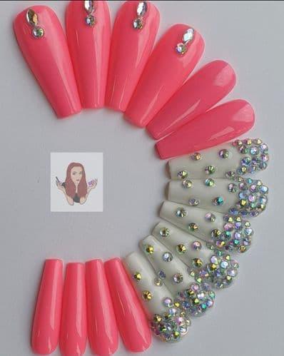Flamingo Pink,  White & Crystals